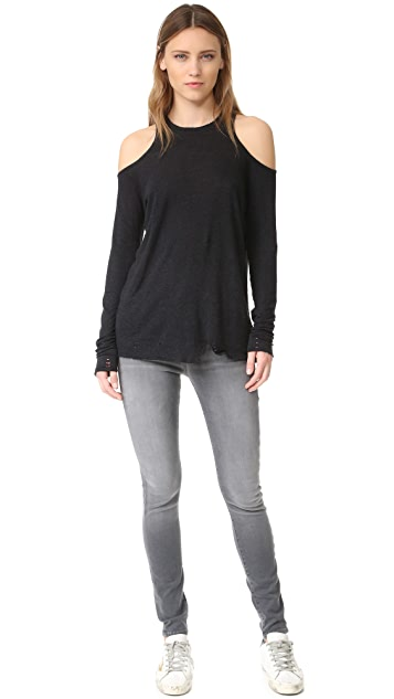Zoe Karssen Distressed Cold Shoulder Tee