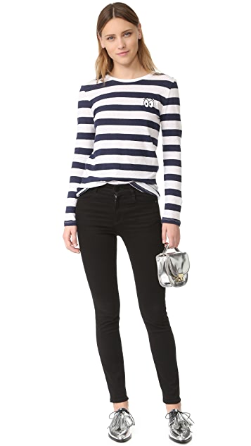 Zoe Karssen Cartoon Eyes Striped Long Sleeve Tee