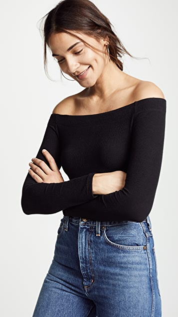 Z Supply Long Sleeve Off The Shoulder Tee