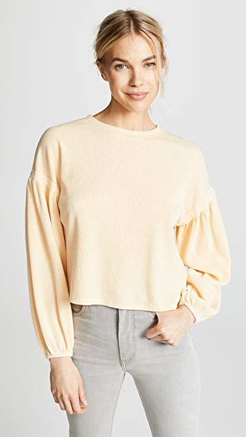 Z Supply The Gathered Sleeve Waffle Top