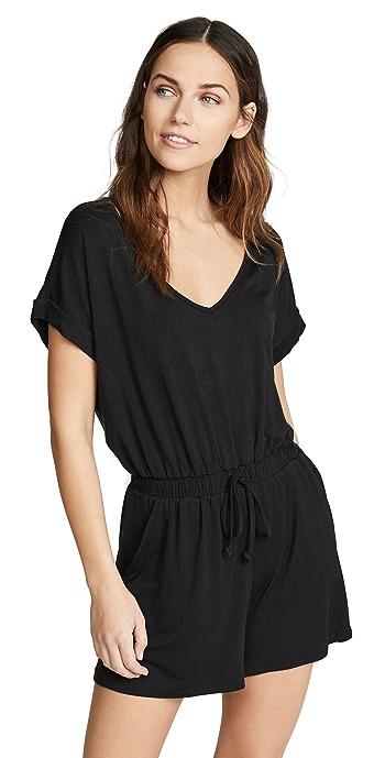 Z Supply Blaire Sleek Jersey Romper - Black