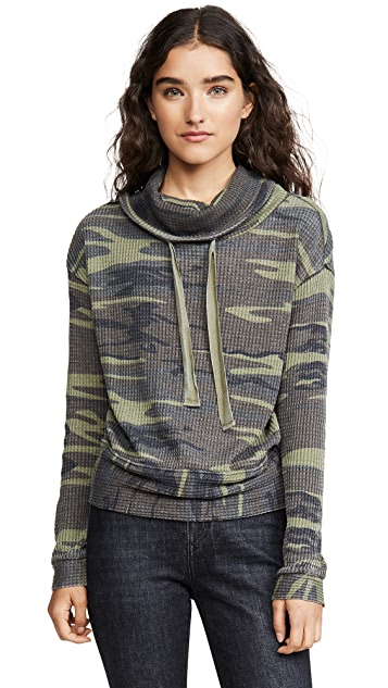 Z Supply The Camo Cowl Neck Thermal Top