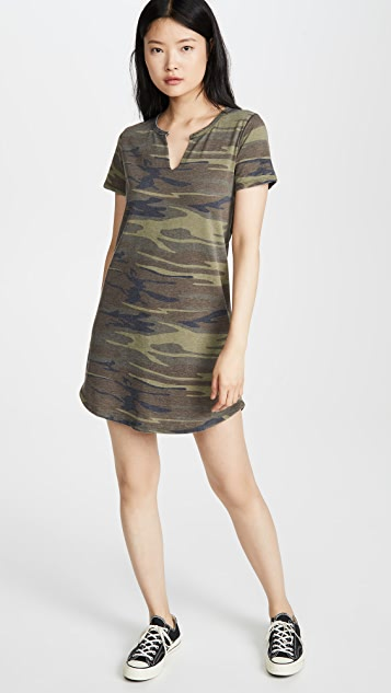 Z Supply Split Neck Camo Dress