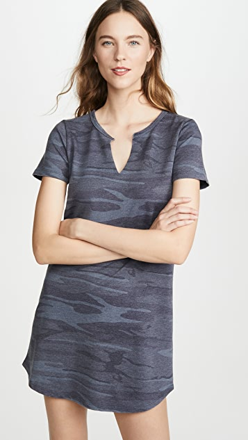 Z Supply Camo Split Neck Dress