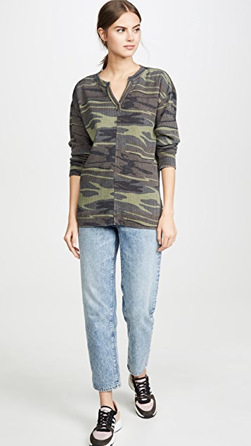 Z Supply Camo Split Neck Thermal Top