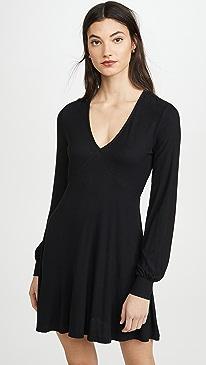 Micro Rib Long Sleeve Dress