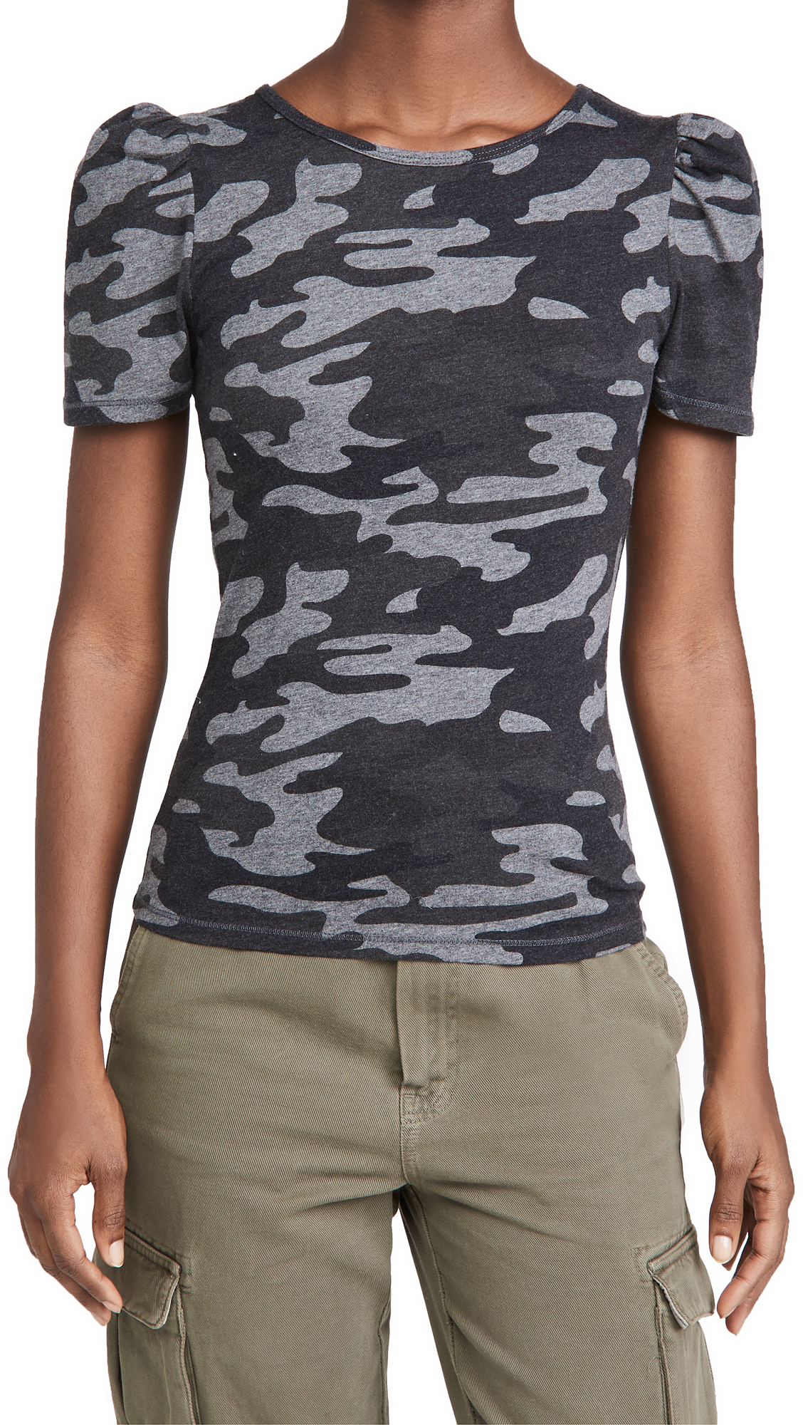 Z Supply Camo Puff Sleeve Tee