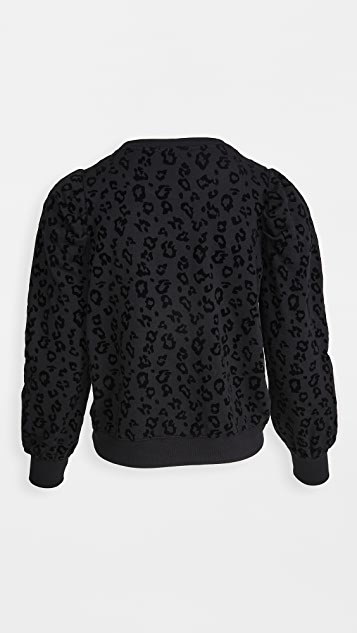 Z Supply Leopard Puff Sleeve Sweatshirt