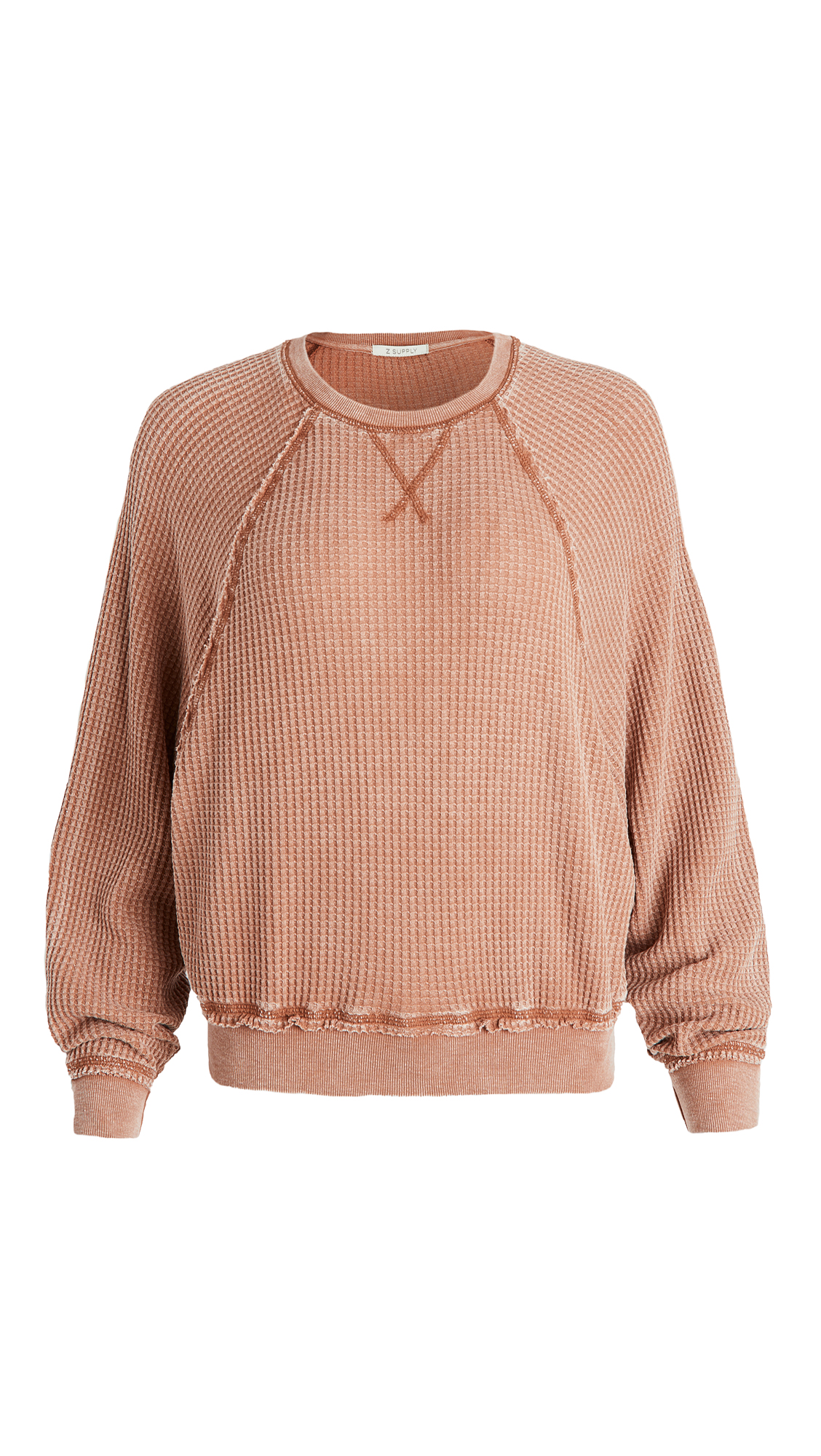 Z Supply Claire Waffle Long Sleeve Sweatshirt