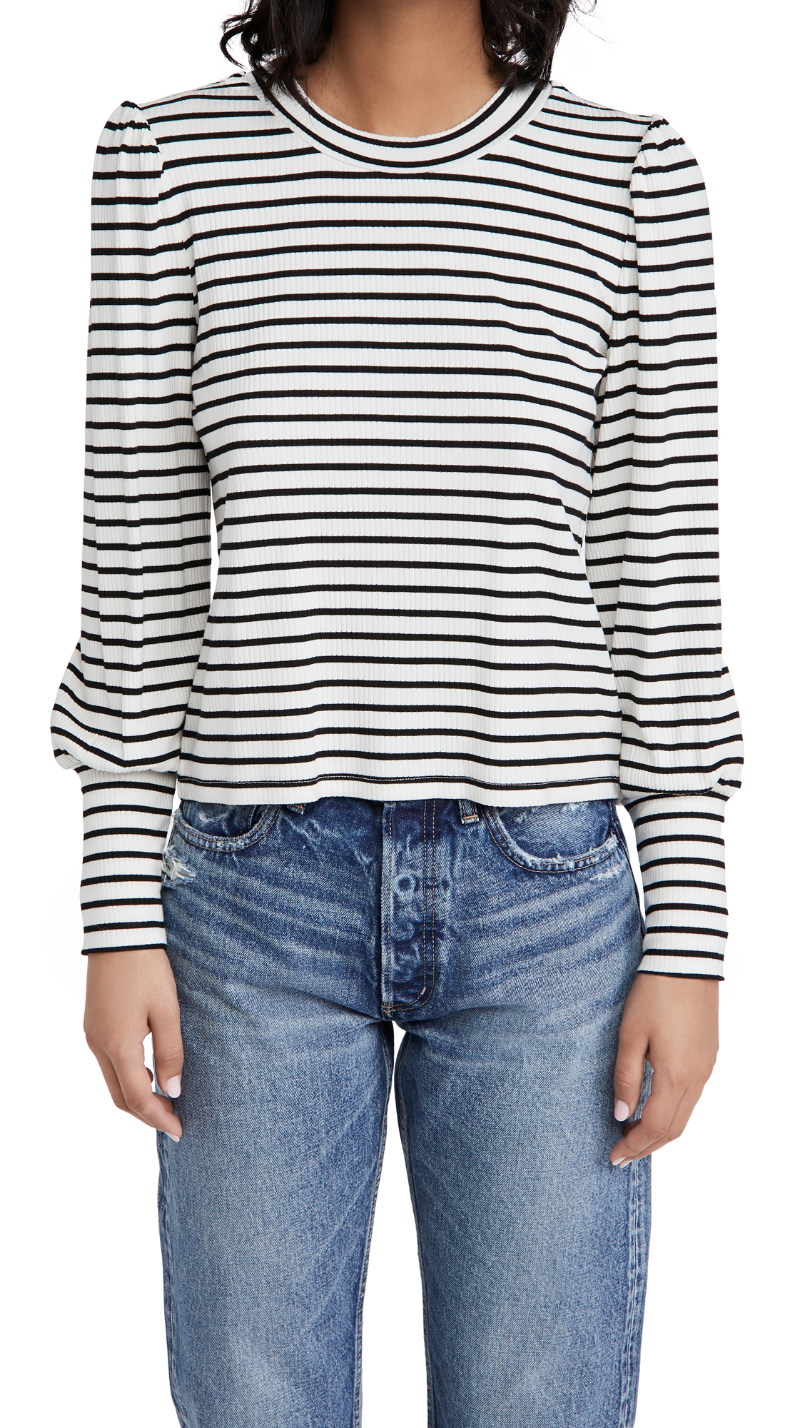 Z Supply CLEMENTE STRIPED PUFF SLEEVE SHIRT