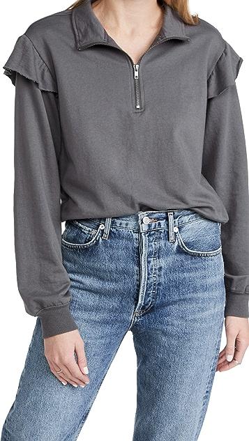Z Supply Half Zip Ruffle Pullover