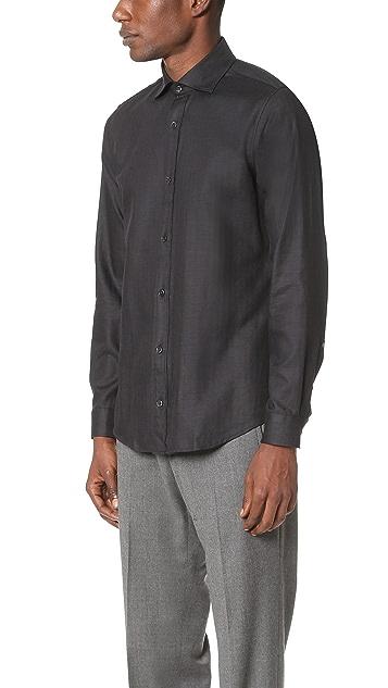 Z Zegna Melange Herringbone Slim Fit Shirt