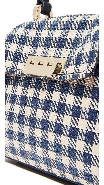 ZAC Zac Posen Eartha Gingham Staw Mini Top Handle Bag
