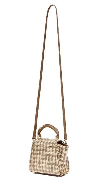ZAC Zac Posen Eartha Gingham Straw Mini Top Handle Bag