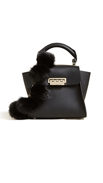 ZAC Zac Posen Fur Pom Eartha Mini Top Handle