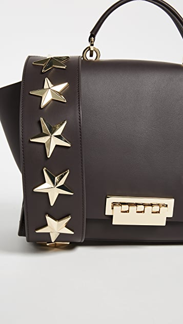 ZAC Zac Posen Leather Eartha Soft Top Handle Bag with Star Studded Strap