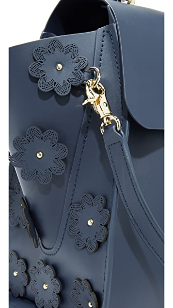 ZAC Zac Posen Eartha Iconic Top Handle Bag with Floral Appliques