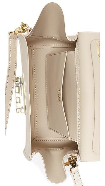 ZAC Zac Posen Floral Applique Eartha Iconic Top Handle Cross Body Bag