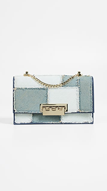 ZAC Zac Posen Eartha Accordion Denim Patchwork Shoulder Bag