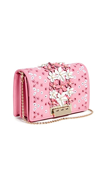 ZAC Zac Posen Earthette Floral Applique Accordion Mini Crossbody