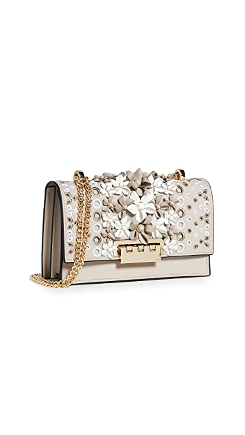 ZAC Zac Posen Earthette Floral Applique Chain Shoulder Bag