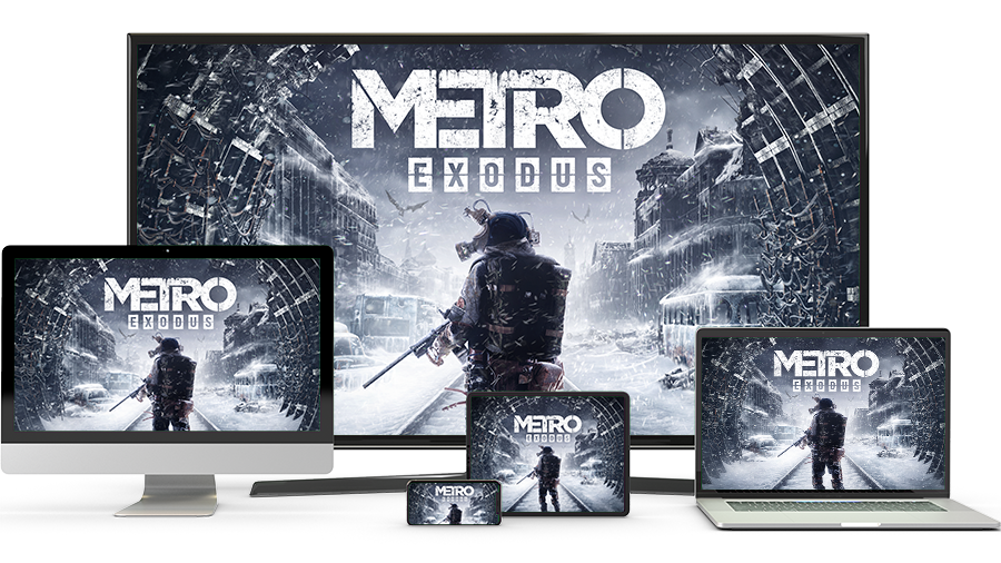 An TV, PC, phone, tablet and laptop showing a game called Metro Exodus