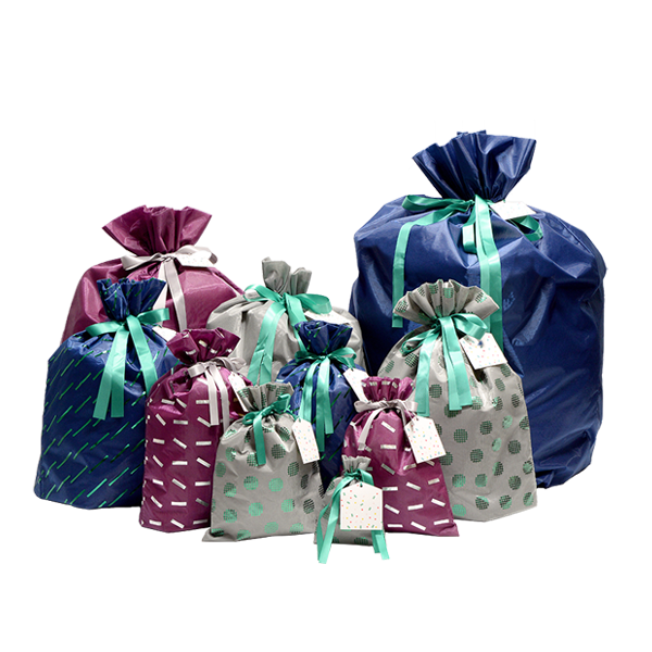 Reusable gift bags made from 100% recycled material