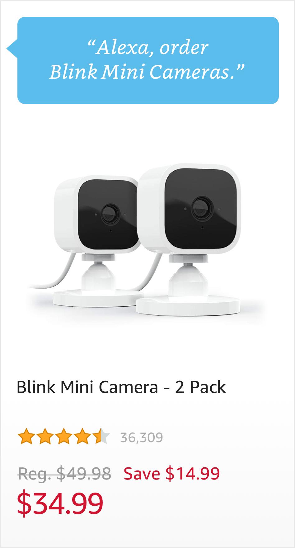 """Order Blink Mini Cameras."" $34.99"