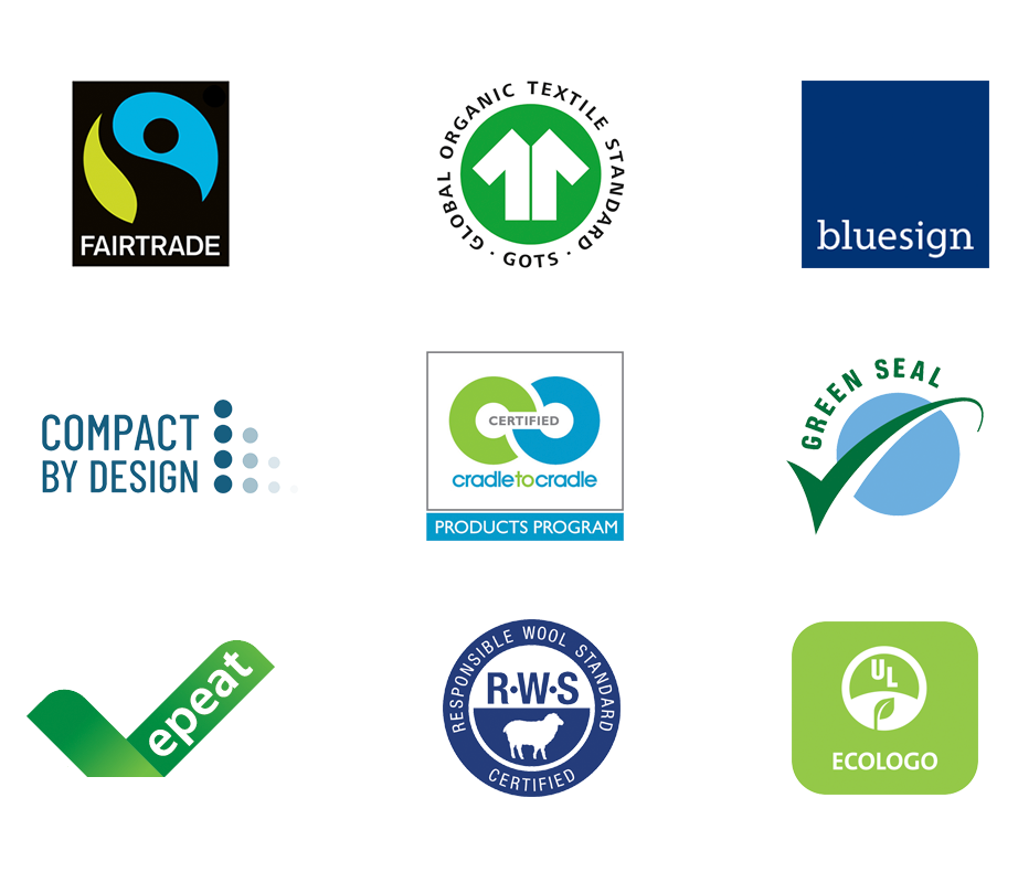 Logos of featured Climate Pledge Friendly certifications