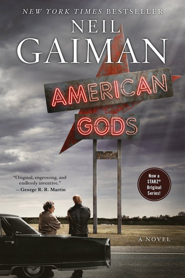 The cover of American Gods by Neil Gaiman. Click for more details.