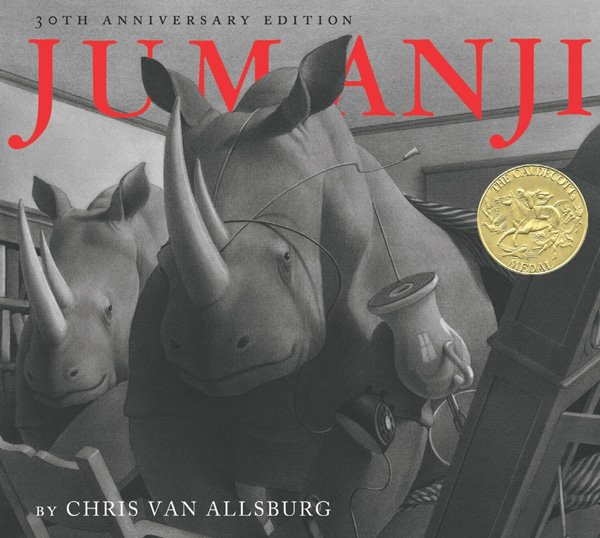 The cover of Jumanji by Chris Van Allsburg. Click for more details.