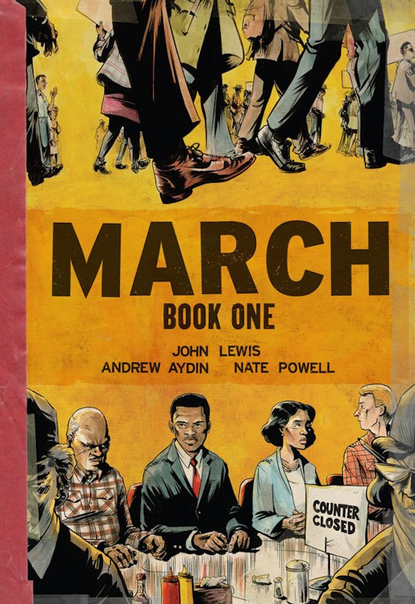 The cover of March: Book One by John Lewis, Andrew Aydin, illustrated by Nate Powell. Click for more details.