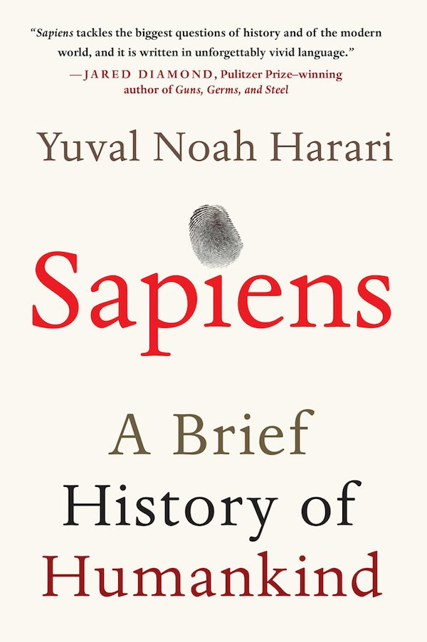 The cover of Sapiens: A Brief History of Humankind by Yuval Noah Harari. Click for more details.
