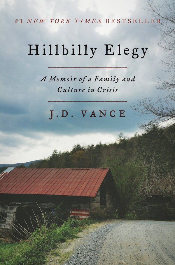 The cover of Hillbilly Elegy: A Memoir of a Family and Culture in Crisis by J. D. Vance. Click for more details.