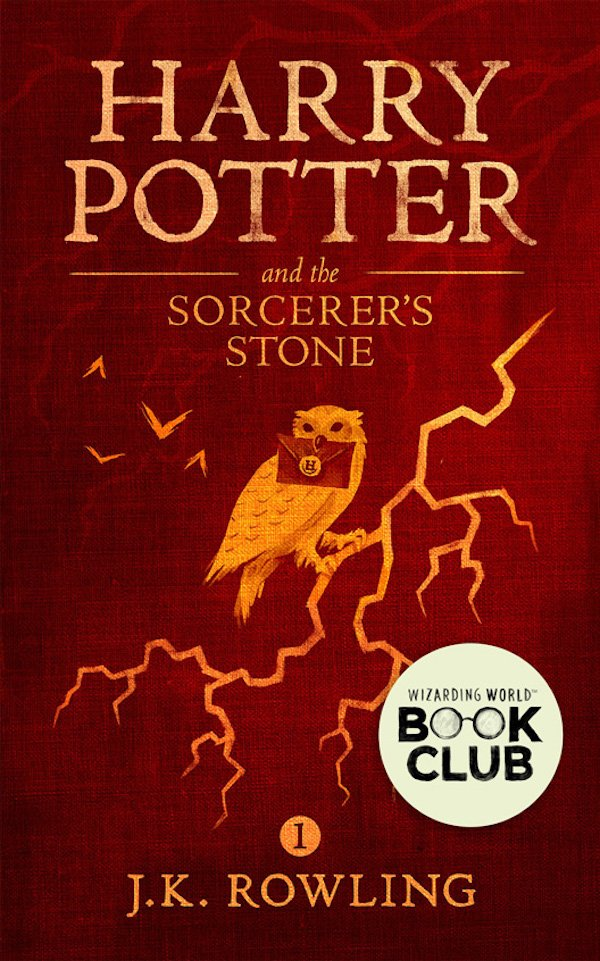 The cover of Harry Potter and the Sorcerer's Stone by J.K. Rowling. Click for more details.