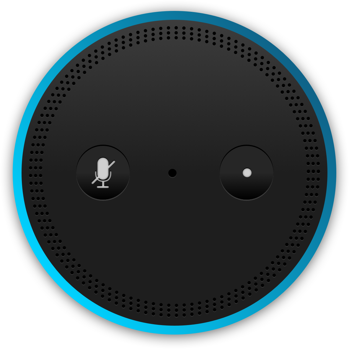 The top of an Amazon Echo device. You can ask Alexa to read your favorite book from Audible or Kindle.