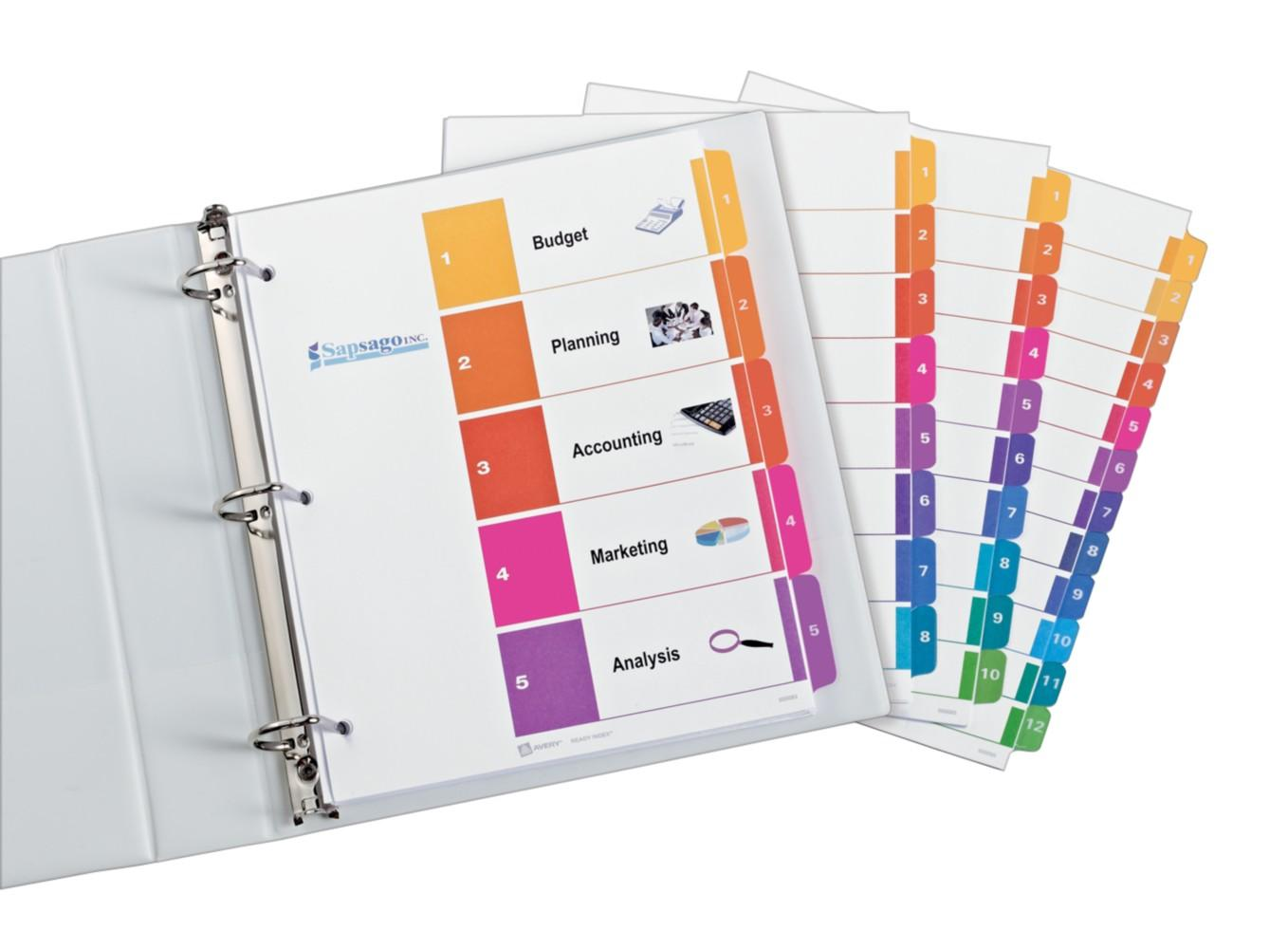Amazon avery ready index table of contents dividers 5 tab professional ready index dividers organization customizable free avery pronofoot35fo Image collections