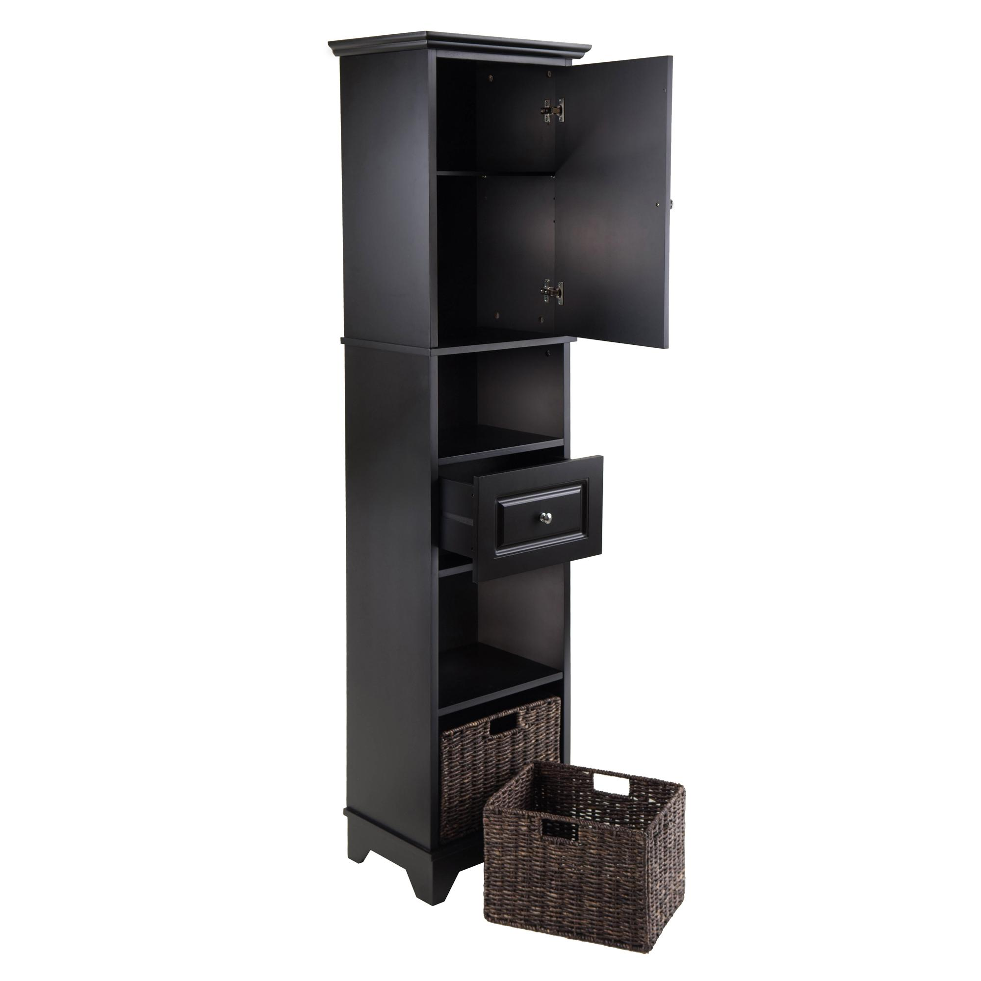 Amazon.com: Winsome Wood Wyatt Tall Cabinet with Baskets, Drawer ...