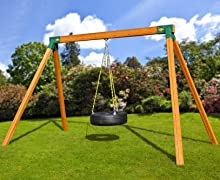 free standing wooden tire swing set with swing set brackets
