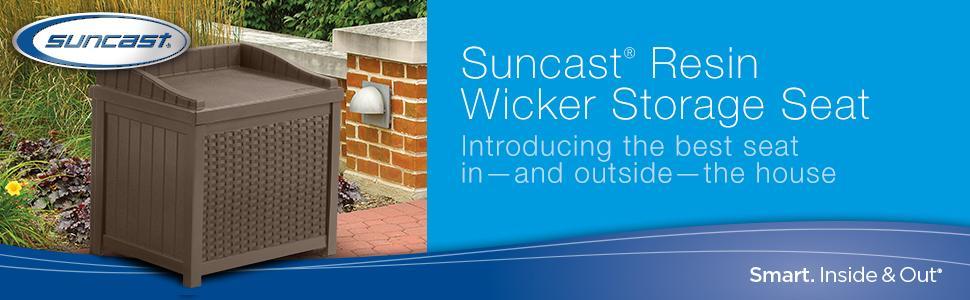 Amazon Com Suncast Ssw1200 Mocha Resin Wicker 22 Gallon