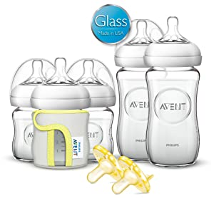 Amazon.com : Philips Avent Natural Glass Baby Bottle Gift Set : Baby