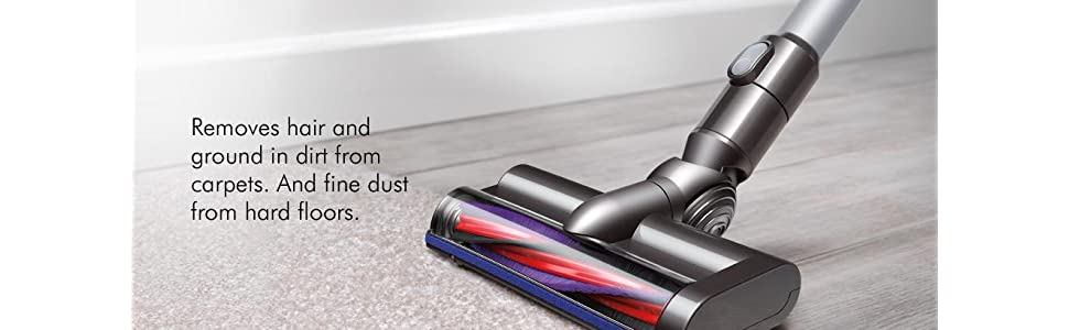 Removes hair and ground in dirt from carpets. And fine dust from hard floors