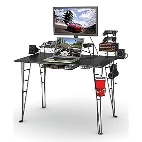 desk game gaming tv stand video storage organization laptop