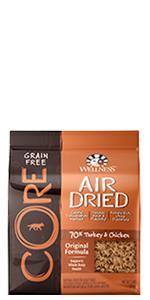 air dried dog food, grain free, dog food topper, dog food treat, Wellness, CORE, high protein