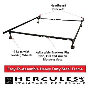 hercules standard heavy duty adjustable metal bed frame - Standard Metal Bed Frame