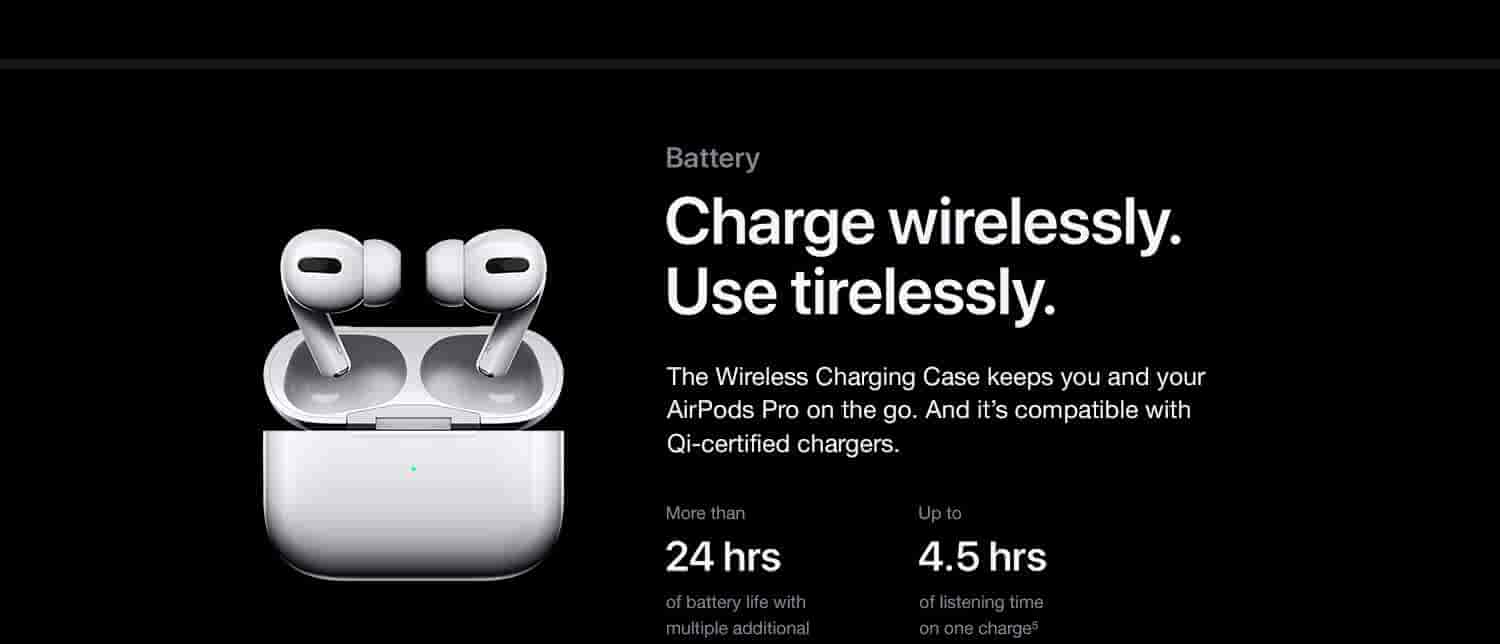 Charge wirelessly. Use tirelessly. The Wireless Charging Case keeps you and your AirPods Pro on the go. And it's compatible with Qi-certified chargers.