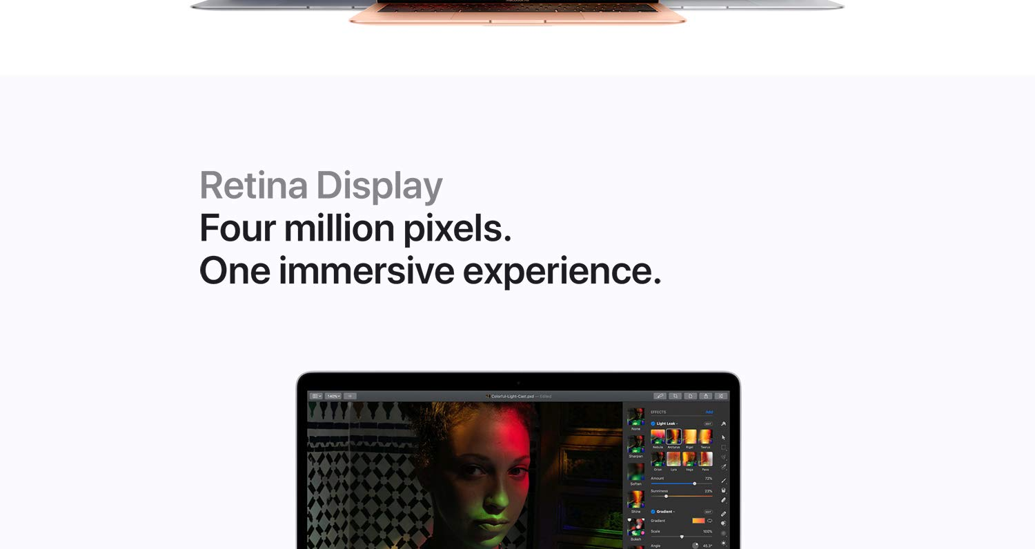 Retina Display. Four million pixels. One immersive experience.