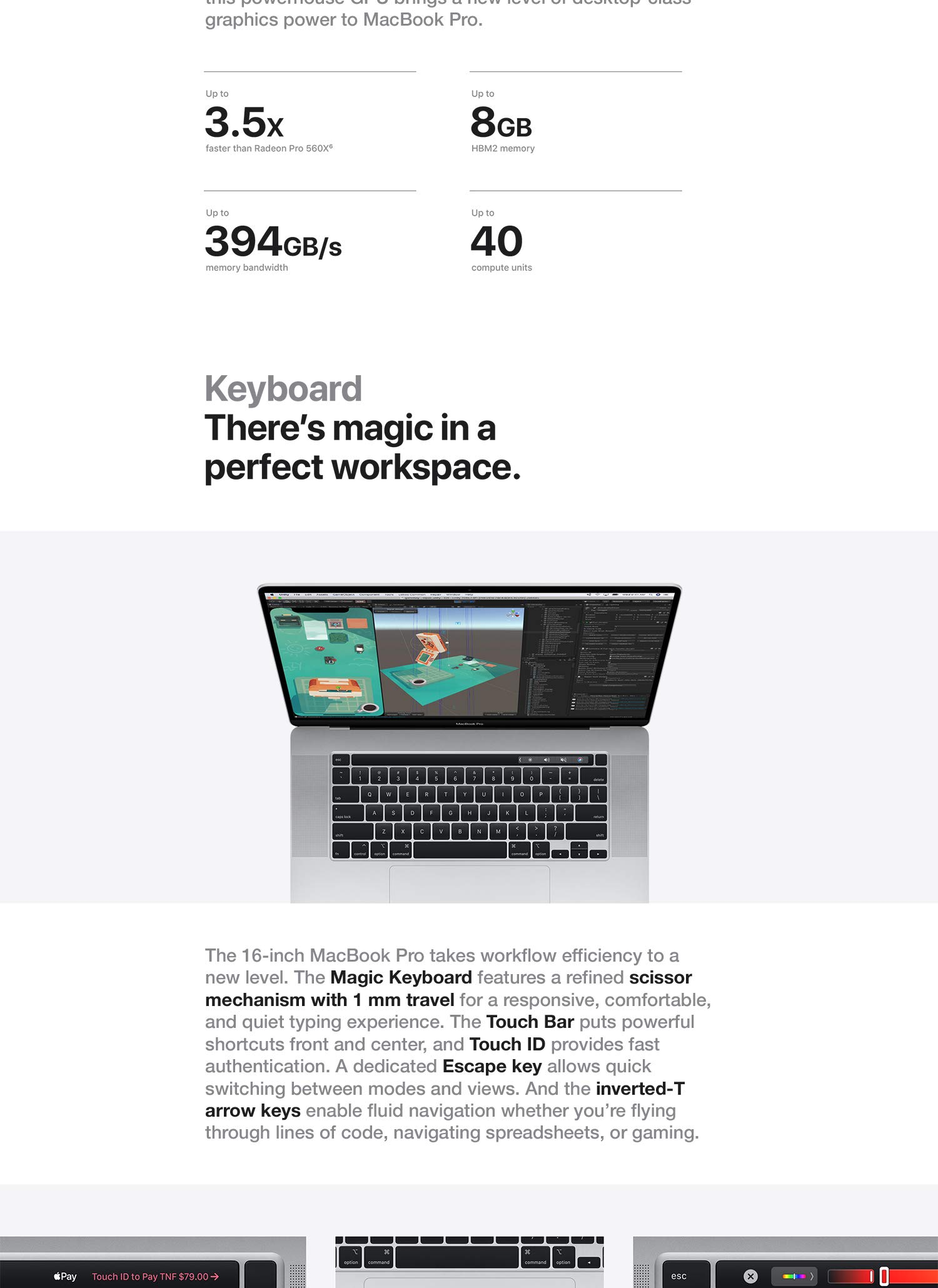 The Magic Keyboard features a refined scissor mechanism for a responsive, comfortable, and quiet typing experience.