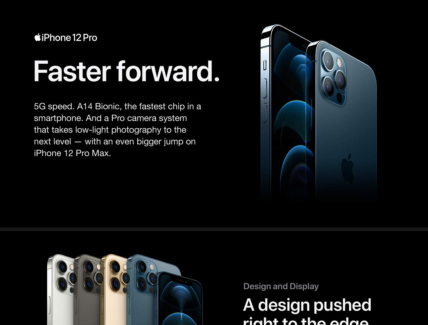 iPhone 12 Pro. 5G speed. A14 Bionic, the fastest chip in a smartphone.