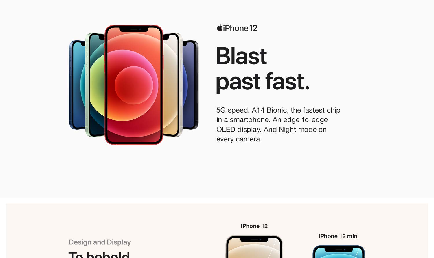 iPhone 12 - 5G speed. A14 Bionic chip, the fastest chip in a smartphone.